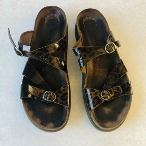 Mephisto Brown Leopard Print Leather Sandals